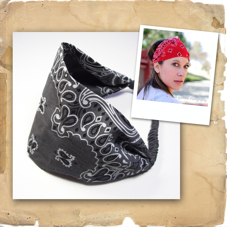 Motorcycle Bandana, Charcoal Gray Mortorcycle Headband, Motorcycle Bandanna. $12.00, via Etsy.