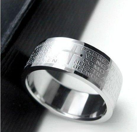 Silber ringe für männer frauen Edelstahl Bibel Herr Gebet Kreuz Ringe Punk mode Für Männer geschenk Schmuck ringe