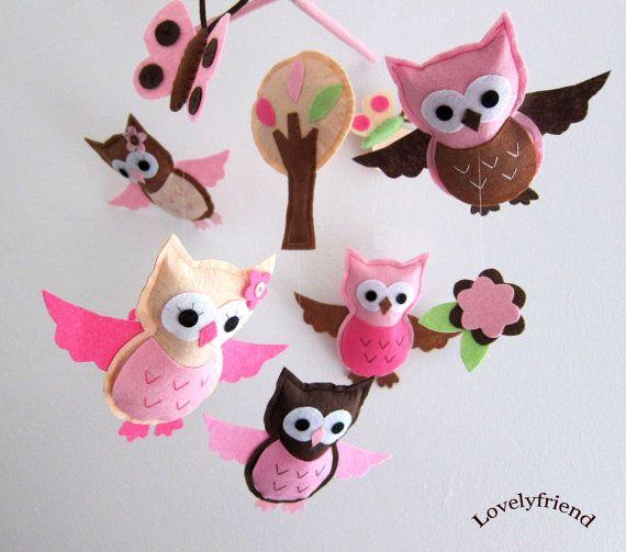 Hanging Mobile -- Pink Owls