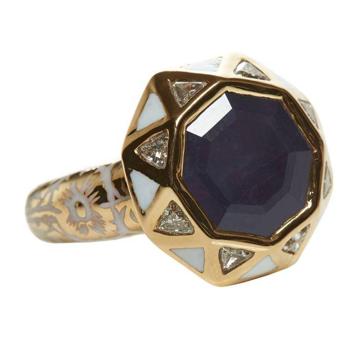 Jade Jagger Sapphire Diamond Gold Octagon Ring   1stdibs.com