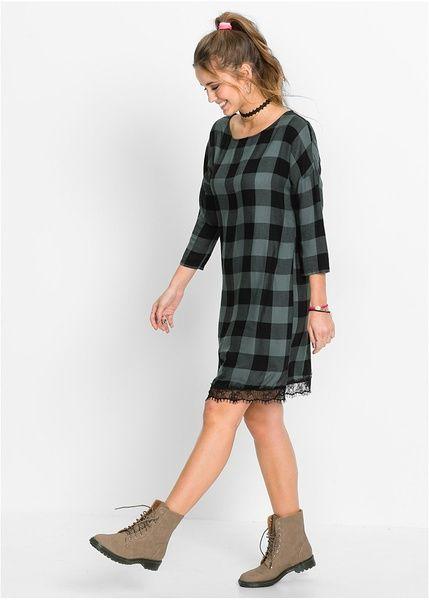 Καρό φόρεμα Μαύρο/Πράσινο του ευκάλυπτου καρό RAINBOW | 27.99 € | bonprix