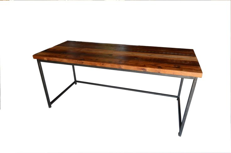 Steel & Wood Sealed with natural satin finish reclaimed wood welded steel frame  72w x 30d x 30w