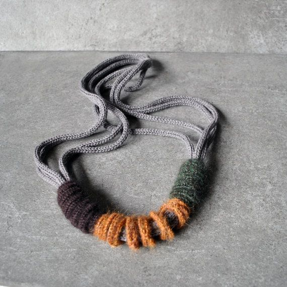 Knit modern necklace textile necklace by AliquidTextileJewels