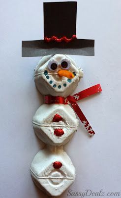 Make a egg carton snowman craft with your kids! It's a fun and cheap Christmas art project to do.