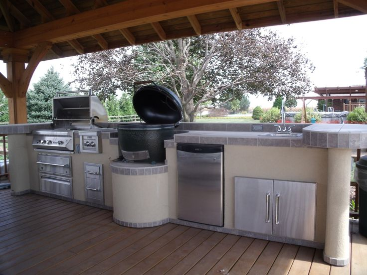 Outdoor bar grill islands a home for the big green egg for Outdoor kitchen islands and bars