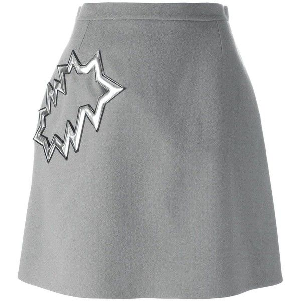 Christopher Kane smash pocket skirt ($1,090) ❤ liked on Polyvore featuring skirts, grey, christopher kane, vinyl skirting, knee length a line skirt, straight skirts and gray a line skirt