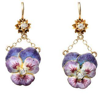 Antique Purple Pansy Enamel Earrings • http://www.georgianjewelry.com/items/show/13246-antique-purple-pansy-enamel-earrings