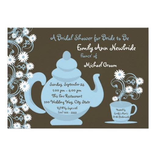 22 best tea party bridal shower invitations images on pinterest tea party bridal shower blue and brown custom invitation online after you search a lot for where to buyhow tolowest price fast shipping and save your money filmwisefo Images