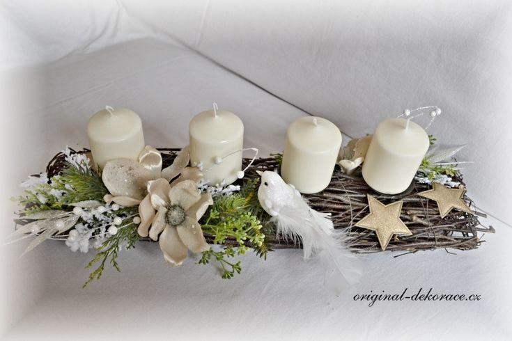 Vánoční (adventní) svícen, dlouhý, hnědé proutí - magnolie a ptáček