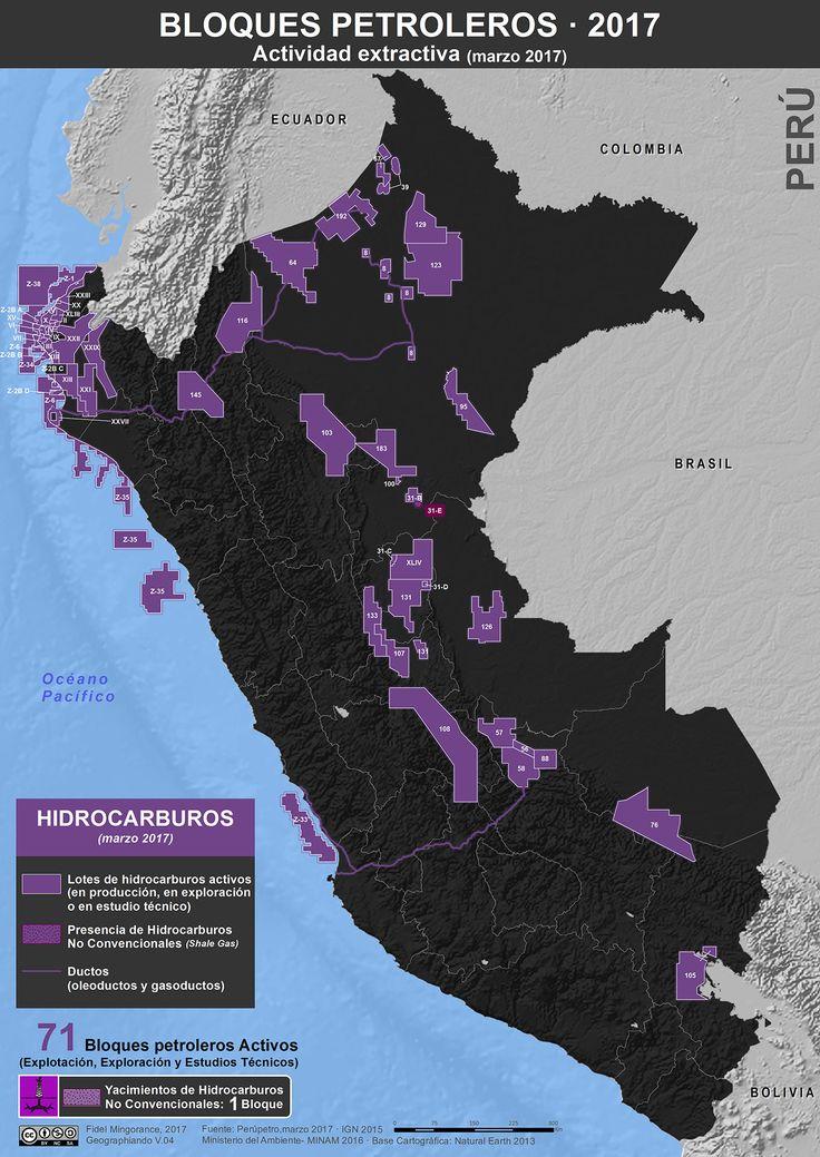 Bloques petroleros activos en Perú, enero 2017