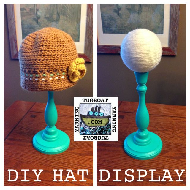 DIY Hat Display.  Costs $12-15 each to make, depending on what you have around the house already.