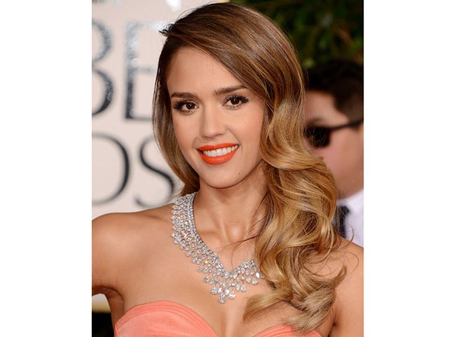 Jessica Alba with peek-a-boo bang hairstyle