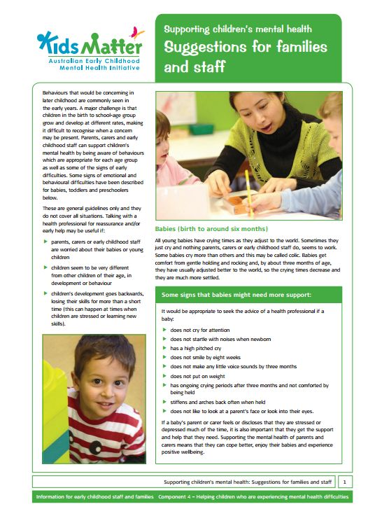 Tip tips: Supporting children's mental health Suggestions for families and staff. Information sheets for families and ECEC staff.