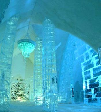 Ice Hotel - Sweden really cool to look at but u would never catch me staying the night there! i like being warm