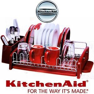 Kitchenaid red kitchen bench dish drying rack cutlery drainer caddy utensil new dishes - Kitchenaid dish rack red ...