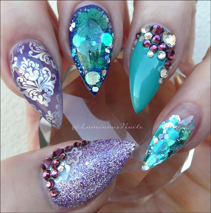 Luminous Nails: Teal, Navy & Purple Acrylic Nails with Dried Flowers &…