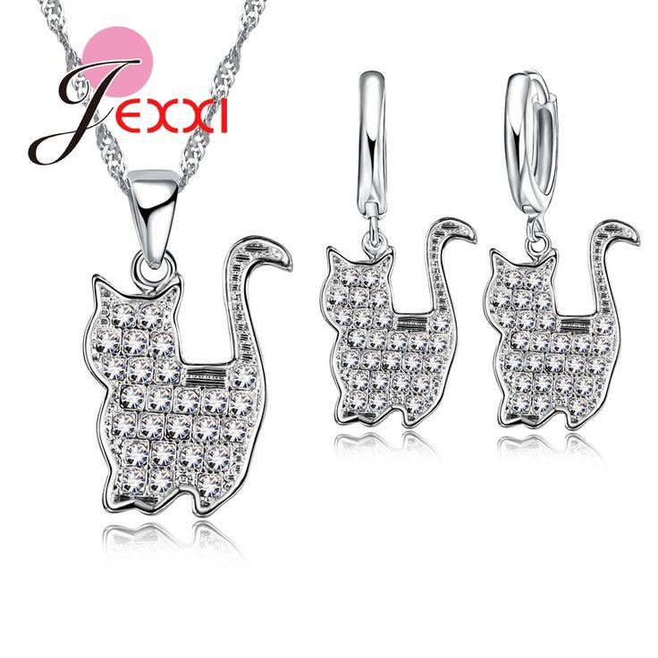 Beautifull Chain Pretty Persian Cat Pendants 925 Sterling Silve CZ Diamond Jewelry Sets Necklace & Earrings For Women/Girls Gift