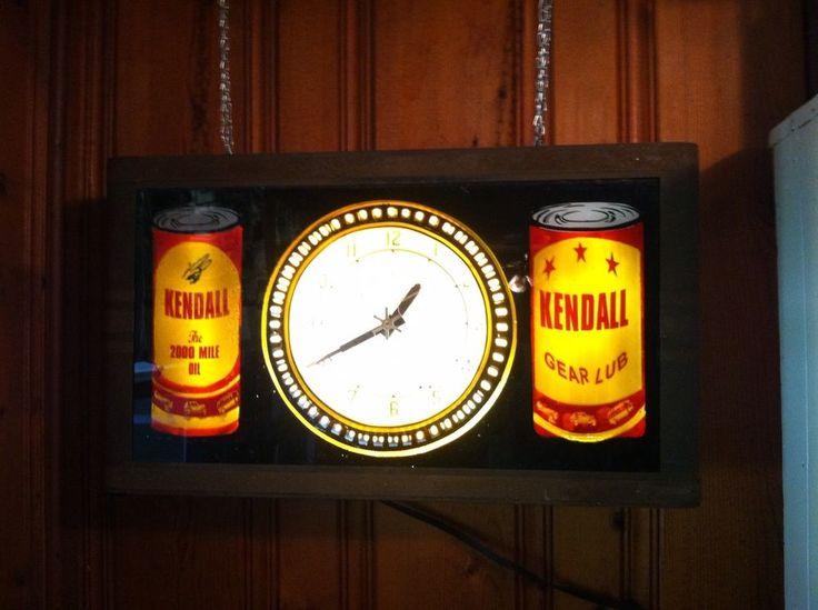 Vintage Original Kendall Oil Neon Spinner Clock Not