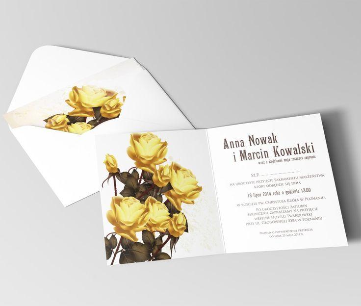 Żółte róże, zaproszenie kwiatowe   | LIWMAART
