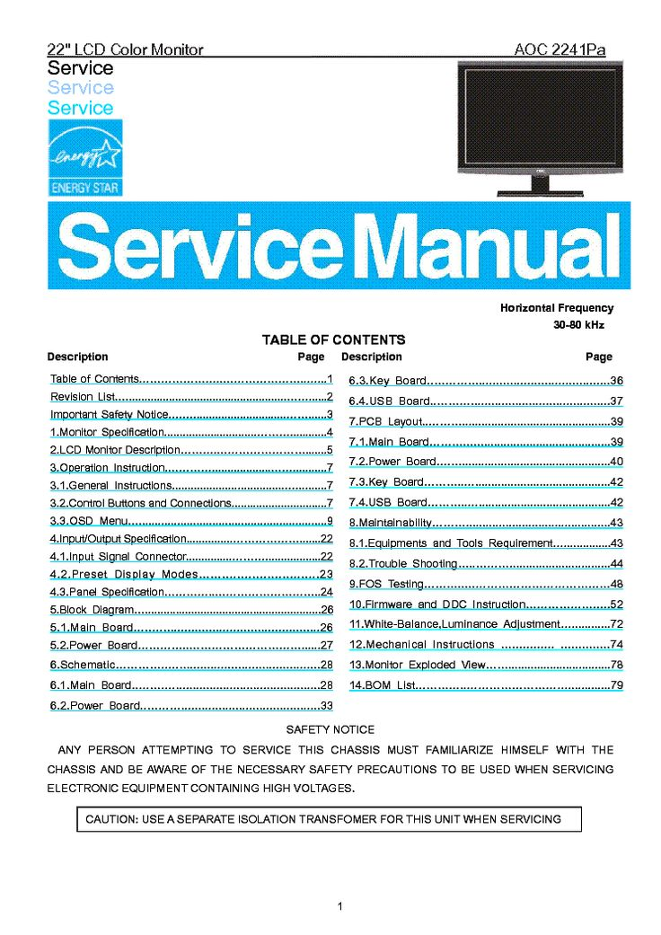 AOC 2241PA LCD MONITOR Service Manual free download, schematics, eeprom, repair info for electronics