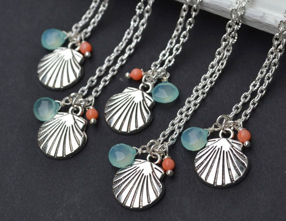 Beach wedding shell necklace beach jewelry by artemisartdesign, $15.00