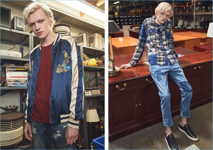 Left: Tapping into the souvenir jacket trend, Turner Barbur wears a Standard Issue bomber jacket, Nudie Jeans tee, and Scotch & Soda jeans. Right: Turner rocks a Remi Relief flannel shirt and denim jeans. Turner also wears a Rag & Bone Standard Issue henley and Common Projects Achilles retro low sneakers.