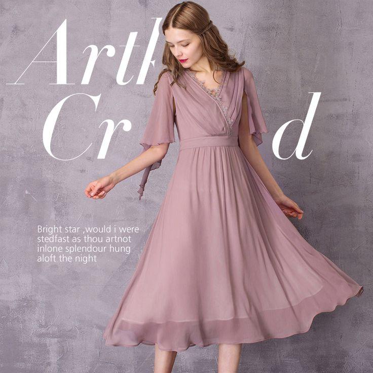 Двухслойное платье с запахом и открытыми рукавами