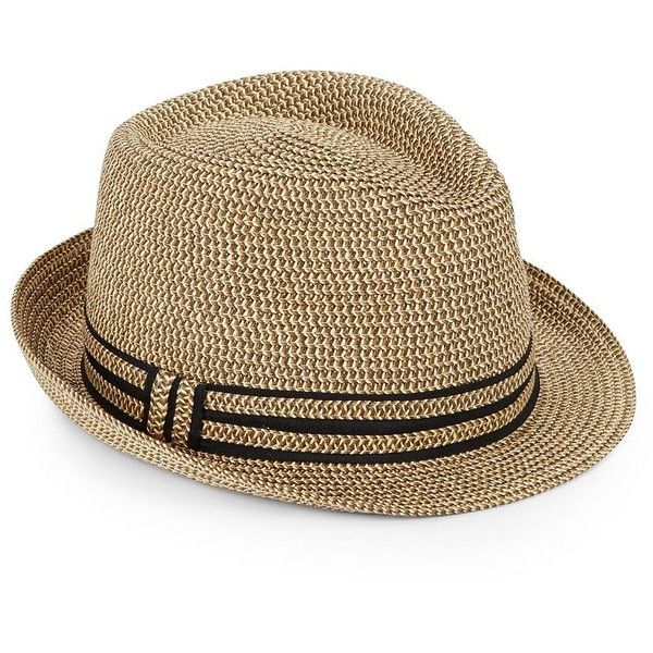 Saks Fifth Avenue Made in Italy Paper Straw Fedora ($40) ❤ liked on Polyvore featuring men's fashion, men's accessories, men's hats, natural, mens hats fedora, mens straw fedora, mens wide brim fedora, mens wide brim fedora hats and mens hats