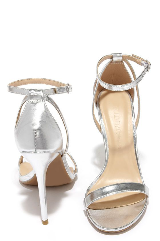 ae641a806ff Glam Squad Silver Ankle Strap Heels