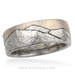 Mountain Mokume Wedding Band – This artisan wedding band has an engraved mountain range, and a sky inlaid with mokume. Send us a picture of the mountains that have meaning for you!