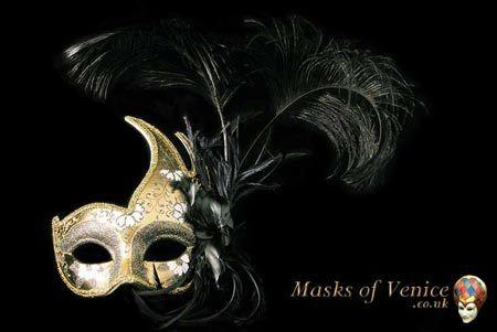 Colombina Cigno Half Mask - Black/Gold - Click to enlarge [+]