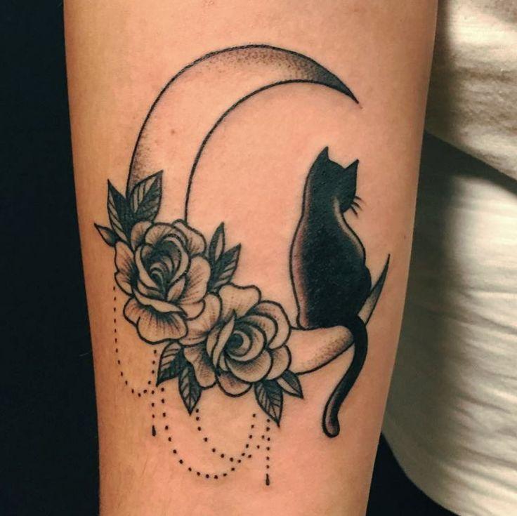 """31 Likes, 1 Comments - glorytattoo (@lagloria_tattoo) on Instagram: """"Black cat #blackcat #cat #cattattoo #tattoocat #ideatattoo #decorative #moon #moontattoo #tattoo…"""""""
