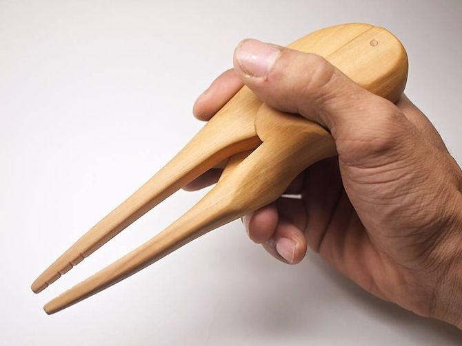 A Japanese craftsman's chopsticks for the physically challenged