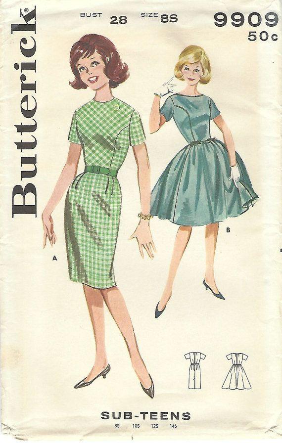 Butterick 9909: Patron de couture vintage utilisation ce années 1960 pour l'ADO sub à coudre une robe jupe slim chique ou une robe jupe pleine - c'est parfait de fête!  Détails de la robe : -corsage ajusté avec coutures princesse profilées -encolure bijou ou décolleté bateau -slim jupe avec plis souples à la taille devant, dart-raccord au tour de taille au dos et coup de pied arrière pli -jupe, à la fois avec des pinces et froncée à la taille -haut des manches courtes -fermeture éclair de…