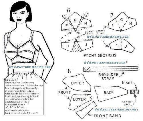 DIY Vintage Bullet Bra - FREE Sewing Pattern Draft  #diy #tutorial #sewing #fashion #vintage