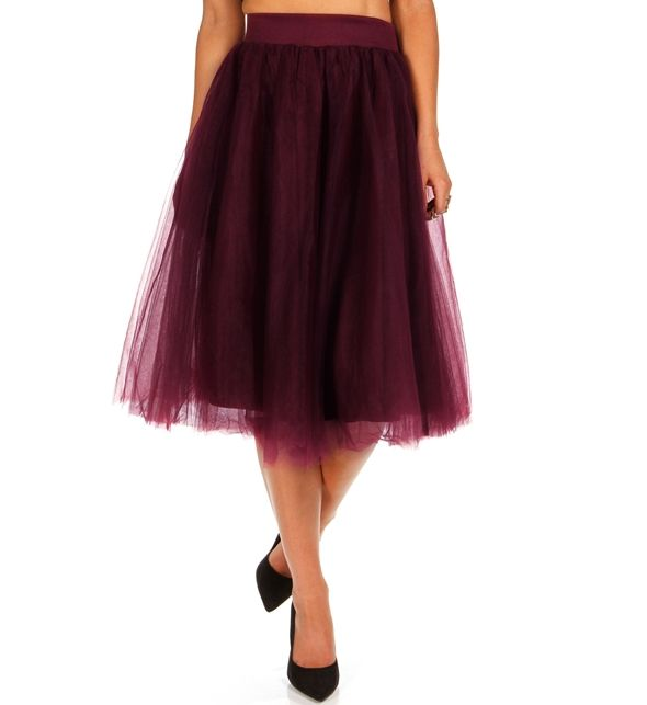 Burgundy Tulle Skirt by: Windsor @Windsor