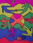 The smARTteacher Resource: Keith Haring Street Art// combine with 'teens in action' (color and movement) to create mini collage murals using drawings and paper cuttings.