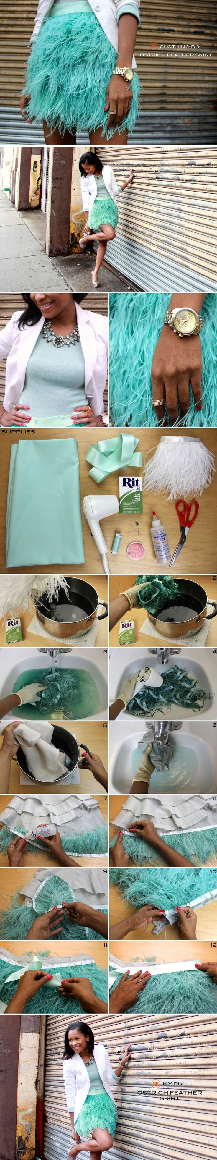 For Angel costume; Feather bottom idea.  Pinner said: Ostrich Feather Skirt #pistachio #springcolortrend | Frugal-nomics.com