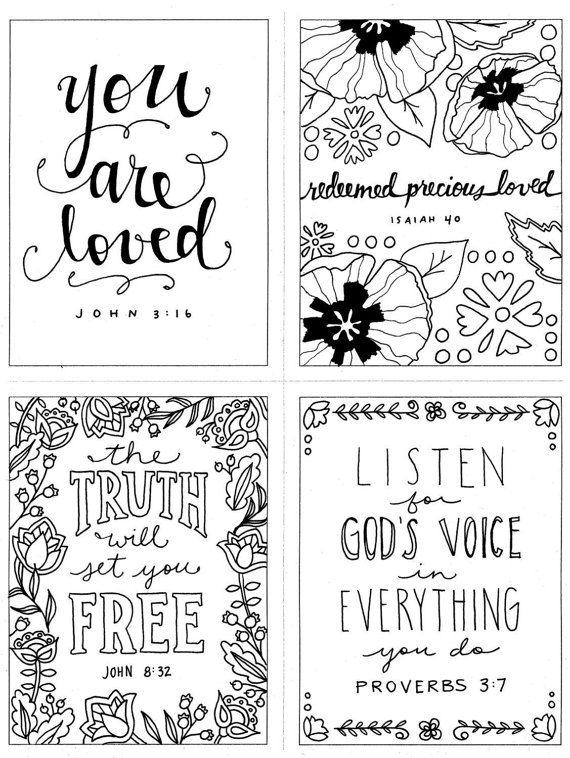 4 in 1 mini set printable coloring page christian coloring inspirational coloring intstant digital download