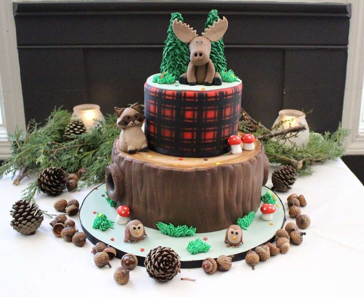 Woodland baby shower party cake! See more party planning ideas at CatchMyParty.com!