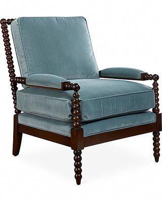 On Bankwood Spindle Chair Teal Velvet Miles Talbott Upholsteringchairs