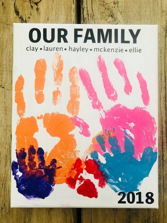 Our Family Handprint Art Family Canvas Sign Handprint Art