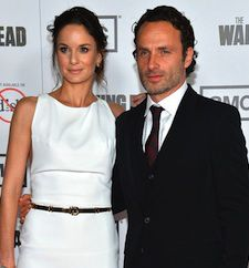 The Walking Dead...Co-Stars Andrew Lincoln and Sarah Wayne Callies; Callies played Sheriff Grimes' wife, Lori, who was killed off this season.  She will be greatly missed.