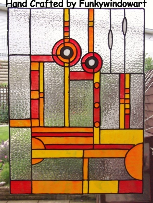 Art deco red orange designer panel static window cling hand painted art deco window clings window art stained glass effects suncatchers decals stickers