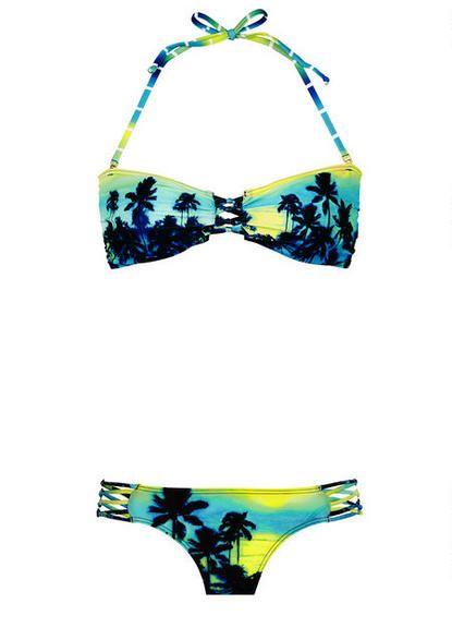 Palm Ombre Aztec Macrame Bandeau Bikini Top - View All Tops - Swim - Clothing - dELiA*s