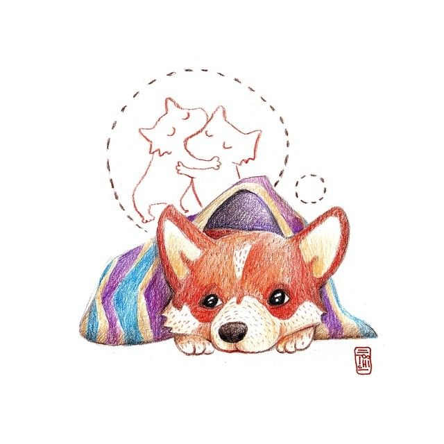 Иногда очень важные люди находятся очень далеко...и это печаль :( #art #colorpencil #pencil #illustration #иллюстрация #корги #dog #corgi #печаль