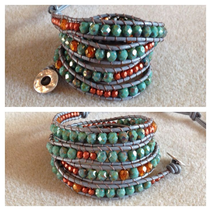 Love these Czech crystals. Turquoise and bronze on grey leather. Facebook message for orders at bracelets by Monika Naumann.