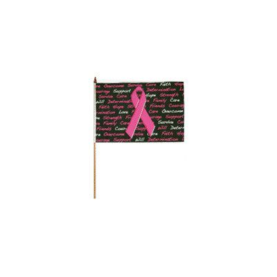FlagsImporter Breast Cancer Traditional Flag and Flagpole Set