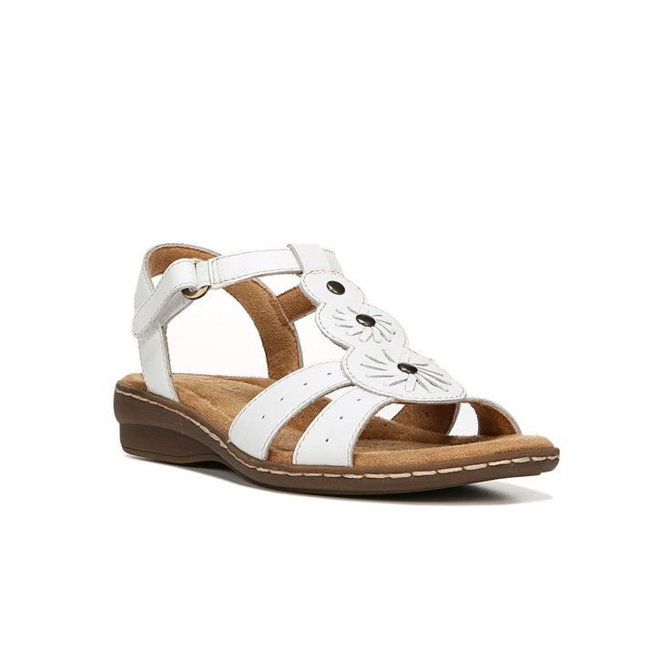 NaturalSoul by naturalizer Barroll Women's Leather Sandals, Size: medium (5), White