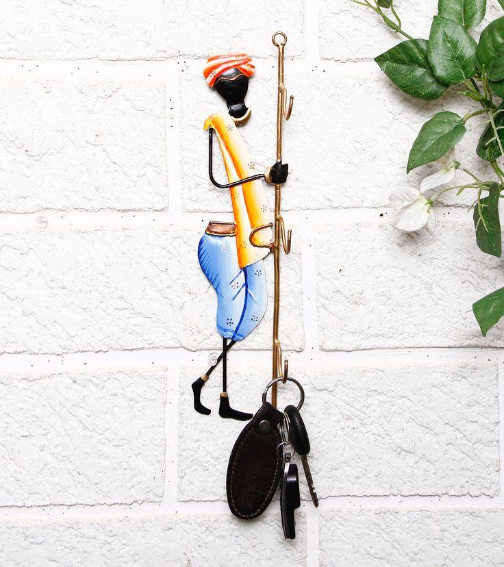Multicoloured Hand Painted Wrought Iron Key Holder=Karigaari India $ 22
